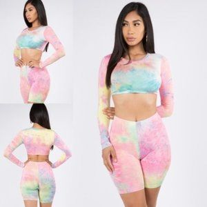 2 pc BLUSH TIE DYE CROP TOP & BIKE SHORT